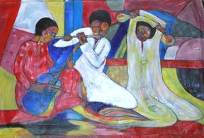 color painting of three musicians playing traditional instruments